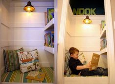 The coolest things you can make from a spare closet? a reading nook, of course. take a gander at this undeniably charming nook from thrifty decor chick. Reading Nook Closet, Closet Nook, Reading Nook Kids, Bed In Closet, Tiny Closet, Bed Nook, Slimming World, Kid Spaces, Small Spaces