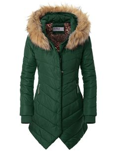 Doublju Womens Winter Hooded Fur Collar Thick Padded Chevron Down Coat at Amazon Women's Clothing store: