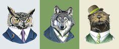 Berkley Illustration - An owl, a wolf, and an otter walk into a bar. Portage Bay, Logic Design, Seattle Art, Otters, Wolf, Illustration, Artist, Photography, Animals