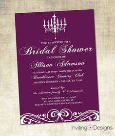 Purple Bridal Shower Invitation (PRINTABLE FILE) - Customize Background Color. $18.00, via Etsy.