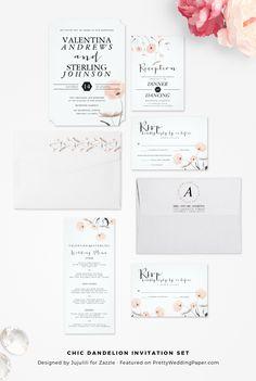 New: Chic modern dandelion wedding invitations by Jujulili. I love these!