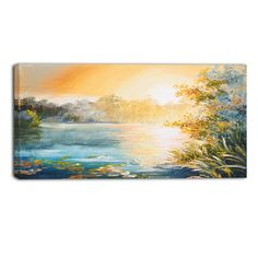 """DesignArt Sunset on the Lake Landscape Painting Print on Wrapped Canvas Size: 20"""" H x 40"""" W"""