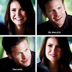 that smile. :') Alaric and Elena.  4x23
