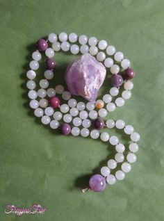 Universal Love Mala by Freyja's Fire Prayer Bead Necklaces, Prayer Beads, Beaded Necklace, Sandalwood Incense, Stones And Crystals, Amethyst, Gemstones, Love, Gifts