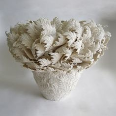 Hitomi Hosono: Large Feather Leaves Bowl ~ hand-built porcelain