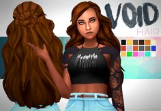 """chocolatemuffintop: """" DOWNLOAD VOID HAIR (DROPBOX) requested by anonymous • maxis match • extra colour pure white requested* • base game • hat compatible • tested in game • enabled for male and female • custom thumbnail • large breasts may deform..."""