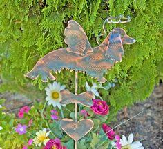 Long Hair Dachshund Dog Pet Memorial Garden Stake / Metal Garden Art / Yard Art / Copper Art / Dog Sculpture / Dog Memorial Angel Statue