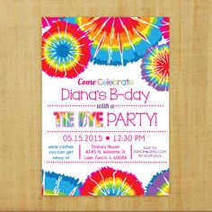 Tie Dye Invitation  Printable by PrintablesbySLP on Etsy