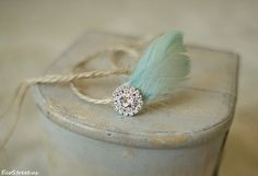 Baby Feather Headband Newborn Rhinestone Headband by EcoStreet