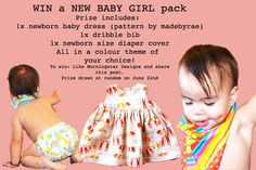 Head over to Morningstar Designs to win a gorgeous handmade girls baby pack. www.facebook.com/mstardesigns Dribble Bibs, Morning Star, New Baby Girls, Baby Sewing, Color Themes, Baby Dress, New Baby Products, Packing, Facebook