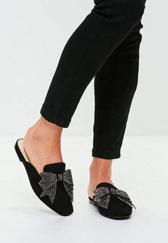 feec7f2ea54 Missguided Black Embellished Bow Slip On Mule Bow Shoes