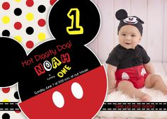 Shelley Barrett Photography ||Birmingham, Chelsea, Shelby County, Alabama Baby Photographer ||Infant, One Year Old, Cake Smash || Mickey Mouse Clubhouse Birthday Party || Mickey Mouse Disney Birthday Invitation