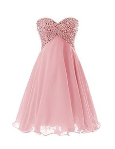Exlinalesha Women's Short Mini Beaded Prom Homecoming Dresses Size 16 Blush. Item Material: Chiffon + stain + crystal + Sequins , Color : As pictures show . sweetheart strapless design with sequins beaded , knee length , back lace up. Occasions: like a Prom, a formal , a wedding , a Cocktail Party, a homecoming , an Evening and some Special occasion. Please refer to OUR US Size Chart (5th picture on left)to choose a suitable size .More Promotion options in our store, please click in…