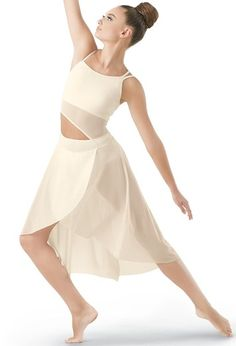 Asymmetrical Mesh Dress - Balera - Product no longer available for purchase Modern Dance Costume, Contemporary Dance Costumes, Dance Recital Costumes, Lyrical Costumes, Contemporary Dresses, Dance Outfits, Dance Dresses, Vive Le Sport, Body Painting