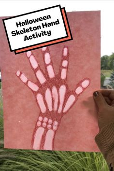 """Kids draw an """"x-ray"""" of their hand to hang in a window after learning about why our skeletons have so many bones. Skeleton Hands, Halloween Skeletons, Halloween Activities, Drawing For Kids, Learning, Studying, Teaching, Onderwijs"""