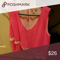 Shirt GB multi layered, hot pink top. I wore it one time Gianni Bini Tops Blouses