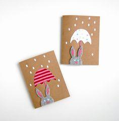 Osterhasen Filz ausschneiden Regenschirm buntes Papier