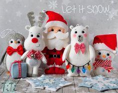 Ornamentos de la Navidad, SET de 7 Navidad adornos fieltro adornos de invierno, Navidad decoración árbol Navidad decoración, Santa reno muñeco de nieve de peluche