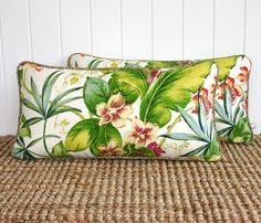 go troppo for a gorgeous, tropical print cushion? I just might! Perfect time of year to update the style of your home and outdoors decor, ready to receive holiday guests. Tropical Orchid Outdoor Lumbar Cushion Pillow by SquareFoxDesigns, $58.00