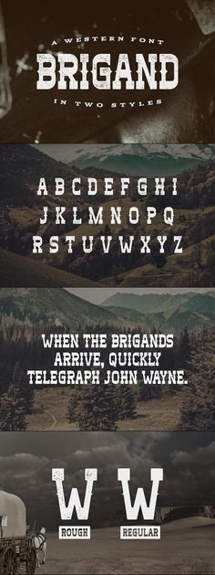 Brigand is a typeface inspired by Western films. It includes English uppercase letters, numbers and basic punctuation. The typeface comes in rough and regular Slab Serif Fonts, Typography Fonts, Typography Design, Hand Lettering, Typography Alphabet, Best Fonts For Logos, Cool Fonts, Font Design, Western Film