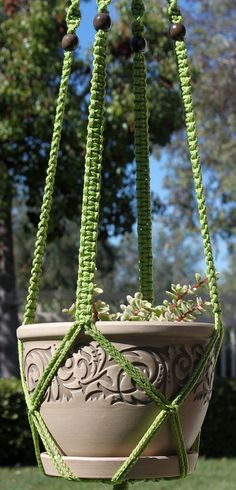 CLASSIC   Light Green Handmade Macrame Plant Hanger Holder With Wood Beads    4mm Braided Poly