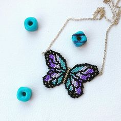 Our butterfly necklace is ready to depart for order and price DM # beads . Loom Bracelet Patterns, Peyote Stitch Patterns, Bead Loom Bracelets, Beading Patterns, Seed Bead Necklace, Beaded Earrings, Beaded Jewelry, Handmade Jewelry, Brick Stitch Earrings