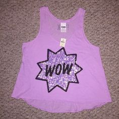 VS Pink lavender WOW Rhinestone tank Sz XS Loose fitting tank with high low hem and rhinestone star. Small black marking on tag to prevent returns. Thanks for looking! Victoria's Secret Tops Tank Tops