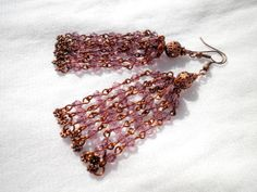 Amethyst Lilac Chandelier Earrings With Glass Crystals. by juta230, $24.95