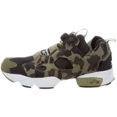 Pre-owned Reebok x Bape Instapump Fury Sneakers ($375) ❤ liked on Polyvore featuring men's fashion, men's shoes, men's sneakers, black, mens black sneakers, mens sneakers, mens camo sneakers, mens round toe shoes and mens woven shoes