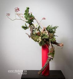 Seasonal Ikebana Arrangement by Ilse Beunen  #ikebana #生花 #いけばな #floralart #sogetsu #sogetsuikebana #草月 #生け花 #floraldesign #florist #floristry #winter #christmas