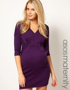 ASOS Maternity Knitted Dress With V Neck And Pleated Waist