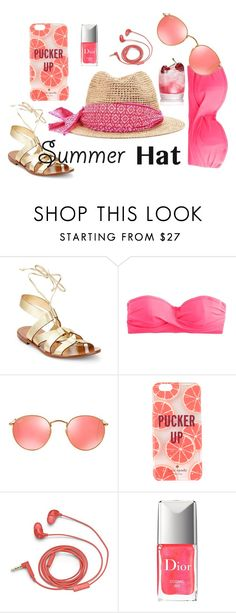 """Summer Hat"" by freckled-gypsy ❤ liked on Polyvore featuring Kate Spade, J.Crew, Ray-Ban, FOSSIL, Christian Dior and summerhat"