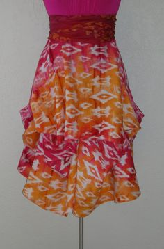 Festival Skirt in Stunning Sunset Shades of Fuchsia, Orange and Gold by Laurie Schafer for Ballerina With A Gun Festival Skirts, Spring Skirts, Tie Dye Skirt, Ballerina, Gun, Shades, Sunset, Orange, My Style