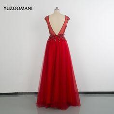 2018 Luxury Sexy V Neck Red Evening Gown Vestidos De Noche Largos Long Tulle Evening Dress. Click visit to buy #PromDress #Dress