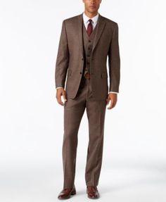 MICHAEL Michael Kors Men's Classic-Fit Brown Donegal Vested Suit | macys.com