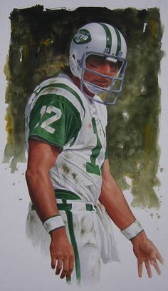 "Artist Glen Green has created this ""sportrait"" of ""Broadway Joe"" Namath. The iconic quarterback is known for boldly guaranteeing his New York Jets would upset the Baltimore Colts in Super Bowl III and then he delivered on his promise! Jets Football, Nfl Football Players, Football Art, Football Photos, Vintage Football, Alabama Football, Football Helmets, Nfl Jets, American Football League"