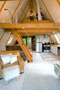 Buy A Tiny House, Tiny House Cabin, Tiny House Living, Tiny House Design, Cabin Homes, Hut House, A Frame House Plans, Tiny House Plans, Triangle House