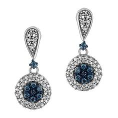 Reeds Sterling Silver Diamond And Blue Diamond Fashion Drop Earrings... ($230) ❤ liked on Polyvore