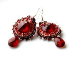 be mine valentine    soutache earrings   by KimimilaArt