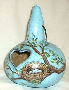 Birds Nest Gourd Birdhouse  Hand Painted by FromGramsHouse on Etsy,