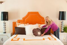 How awesome is this headboard design? It is also the perfect shade of orange