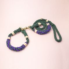 Cruisre Rope collar & Leash set in Forest Green, Royal Purple & Beige knots.