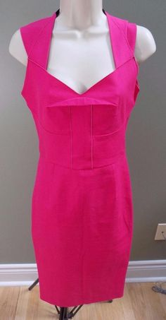 ROLAND MOURET Cotton Stretch Ltd Ed for Neiman Marcus Pink Dress US 6 I 42 #RolandMouret