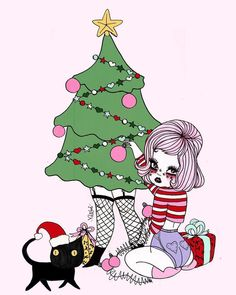 No photo description available. Art Addiction, Muse Art, Merry Christmas To All, Christmas Stuff, Witch Art, Mural Wall Art, Pin Up Art, Christen, Doodle Art