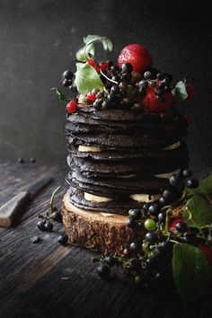 Oatgasm: Chocolate Oatmeal Crepe Cake with Wild Grapes, Berries, and Bananas + A Turning of Age