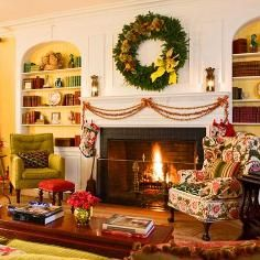 Mantel Decorations / IDEAS & INSPIRATIONS :Beautiful Christmas Mantels - CotCozy