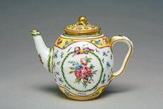 1780 date letter for 1780 Sèvres Porcelain Manufactory, factory, Sèvres Buteux, Charles-Nicolas, painter, b.1753, op. 1763-1801, Sèvres height, over knob, 10.4, cm length, handle-spout, 13.3, cm
