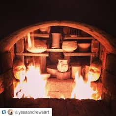 Repost @alyssaandrewsart with @repostapp.  Wes Anderson worthy symmetry right there. by woodfiredpotterykilns