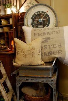 grain sack pillow, vintage scale
