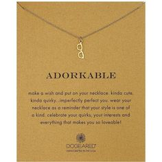 Dogeared Adorkable Glasses Reminder Necklace ($58) ❤ liked on Polyvore featuring jewelry, necklaces, dogeared necklace, dogeared bracelet, bracelet jewelry, pendants & necklaces and chain bracelet